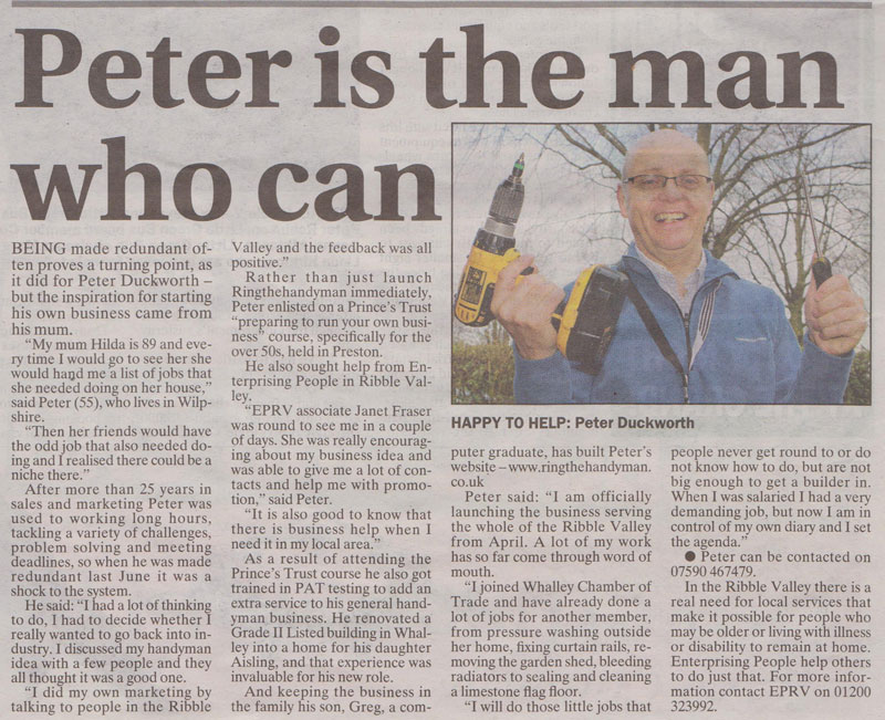Ring The Handyman in the Clitheroe Advertiser